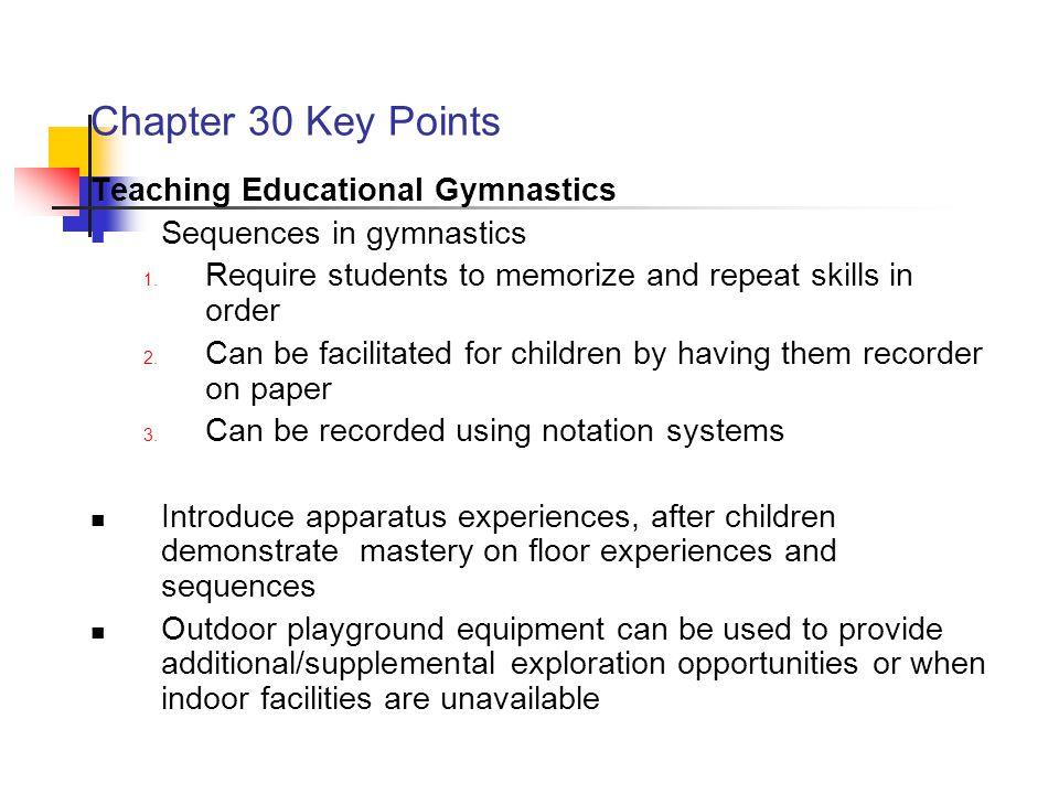 Chapter 30 Key Points Teaching Educational Gymnastics