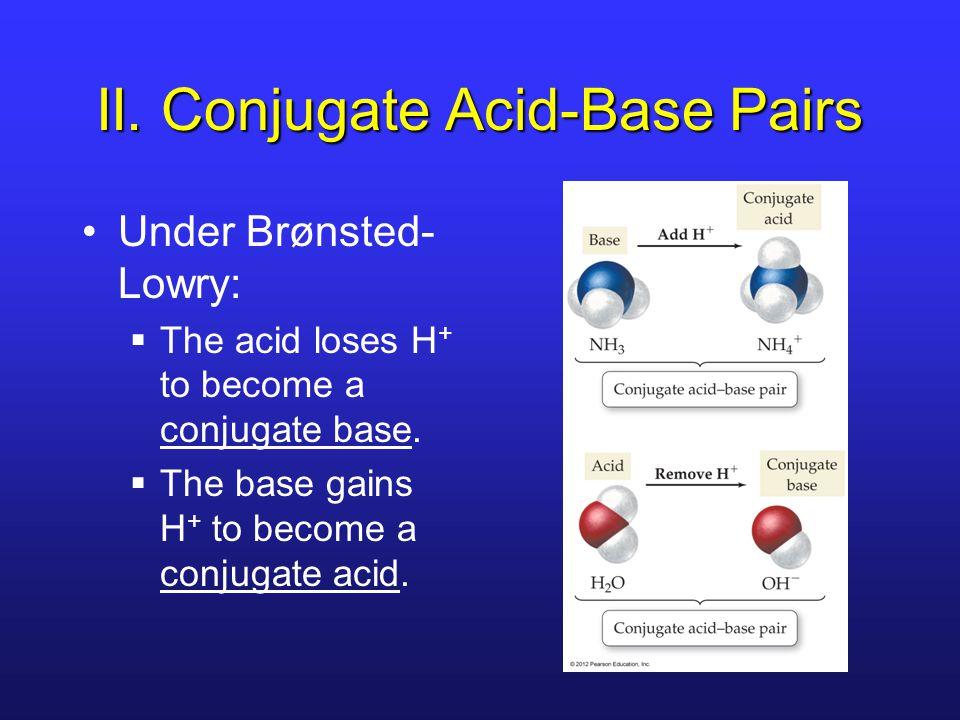 II. Conjugate Acid-Base Pairs