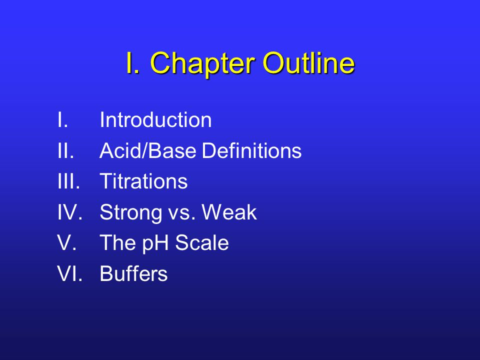 I. Chapter Outline Introduction Acid/Base Definitions Titrations