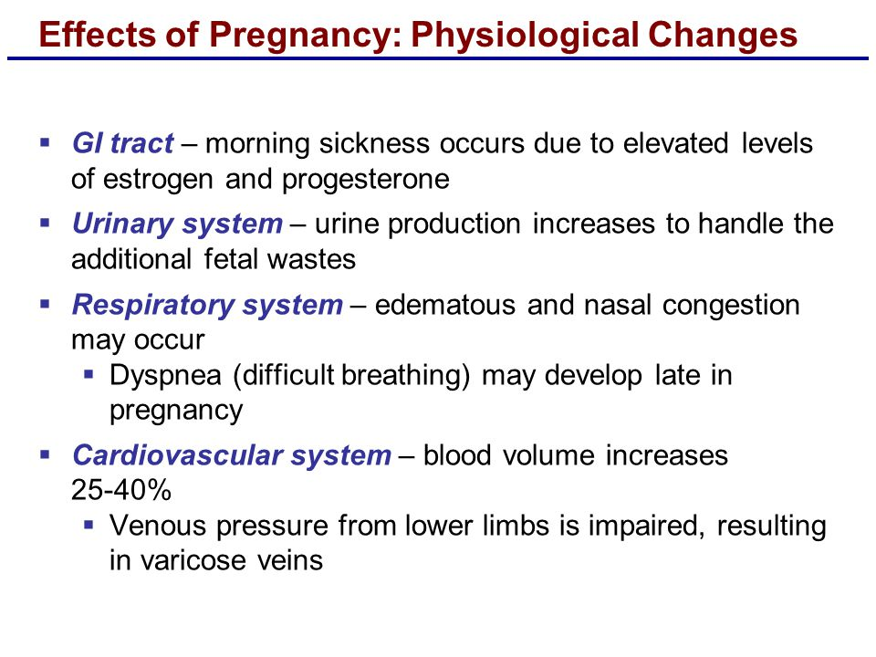Effects of Pregnancy: Physiological Changes