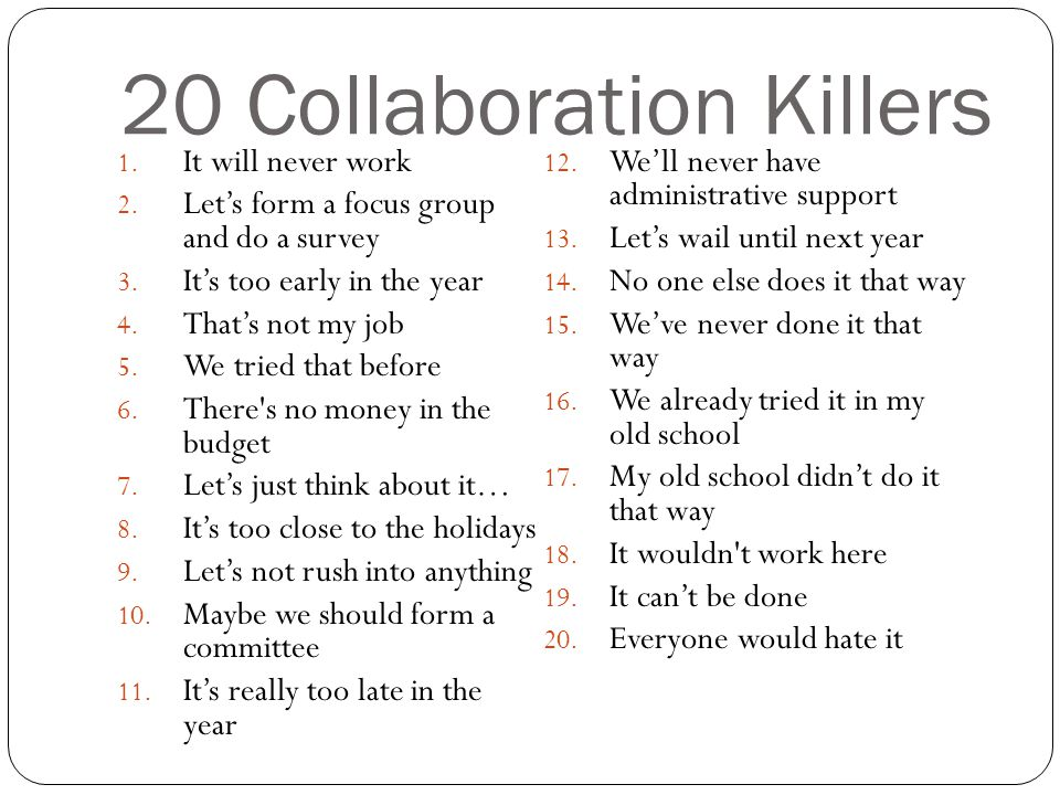20 Collaboration Killers