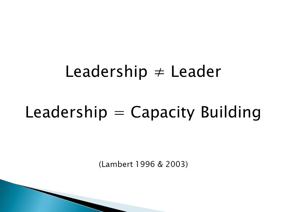 Leadership = Capacity Building