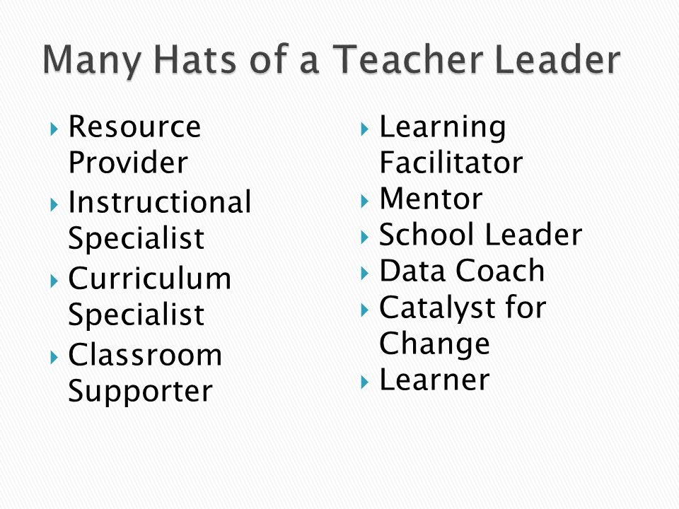 Many Hats of a Teacher Leader