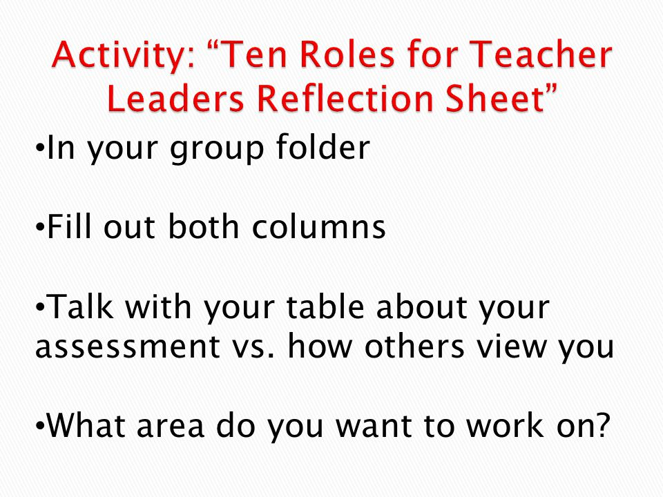 Activity: Ten Roles for Teacher Leaders Reflection Sheet