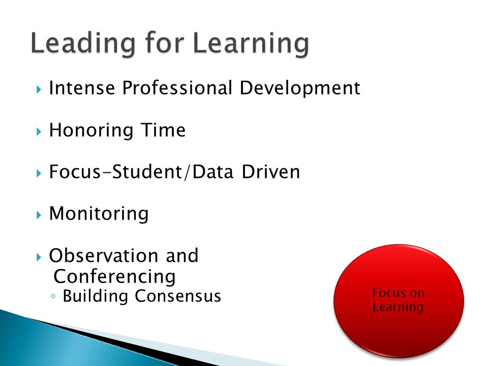 Leading for Learning Intense Professional Development Honoring Time