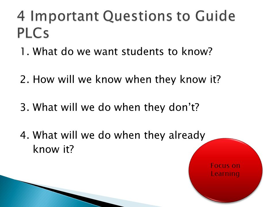 4 Important Questions to Guide PLCs