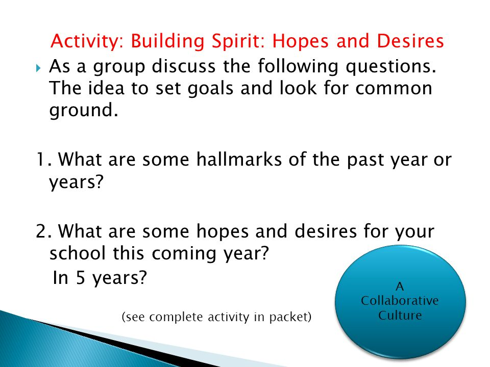 Activity: Building Spirit: Hopes and Desires