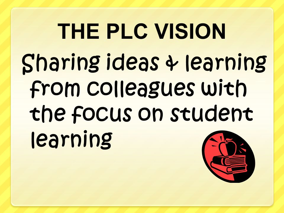 THE PLC VISION Sharing ideas & learning from colleagues with the focus on student learning