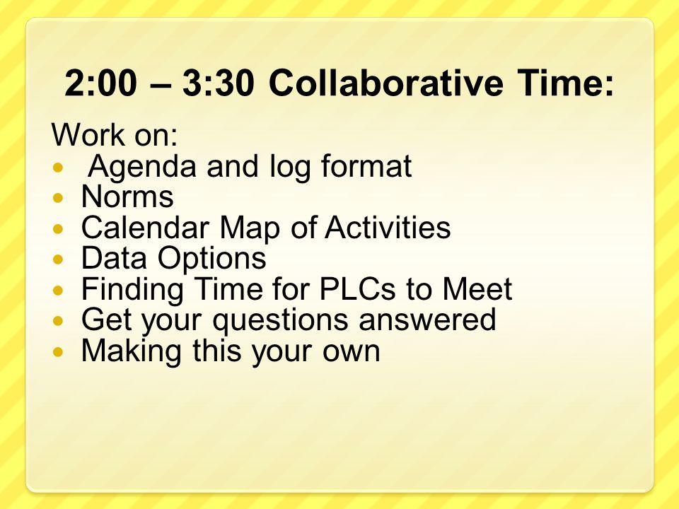 2:00 – 3:30 Collaborative Time: