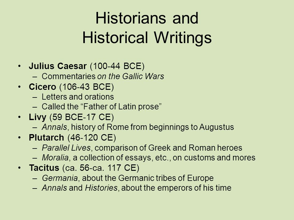 Historians and Historical Writings