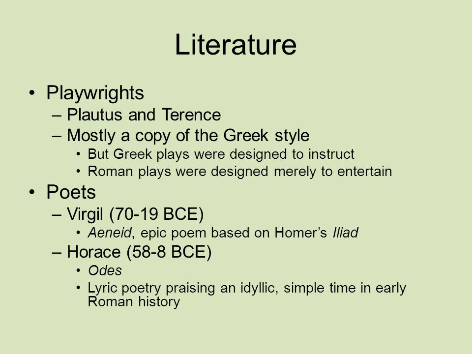 Literature Playwrights Poets Plautus and Terence