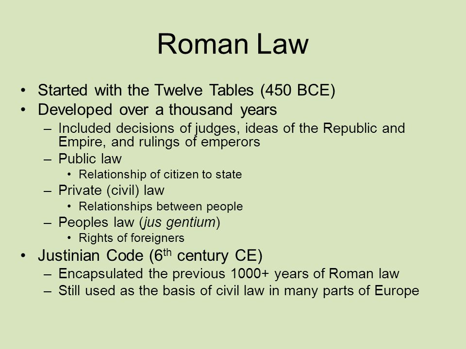 Roman Law Started with the Twelve Tables (450 BCE)