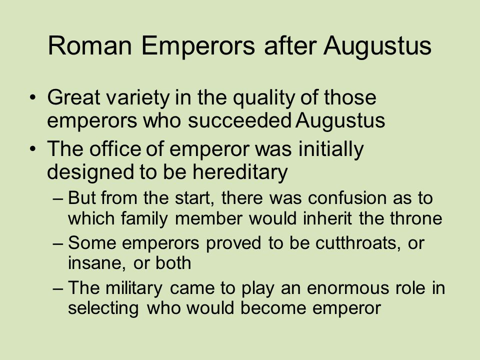 Roman Emperors after Augustus