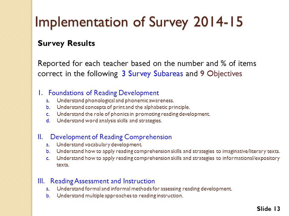 Implementation of Survey 2014-15
