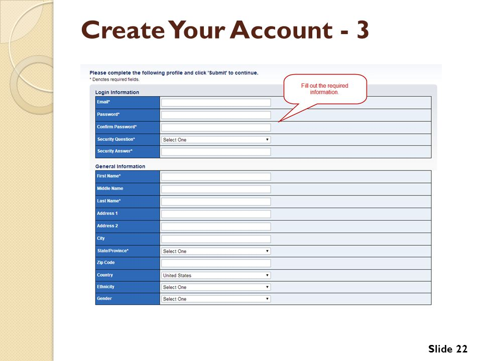Create Your Account - 3