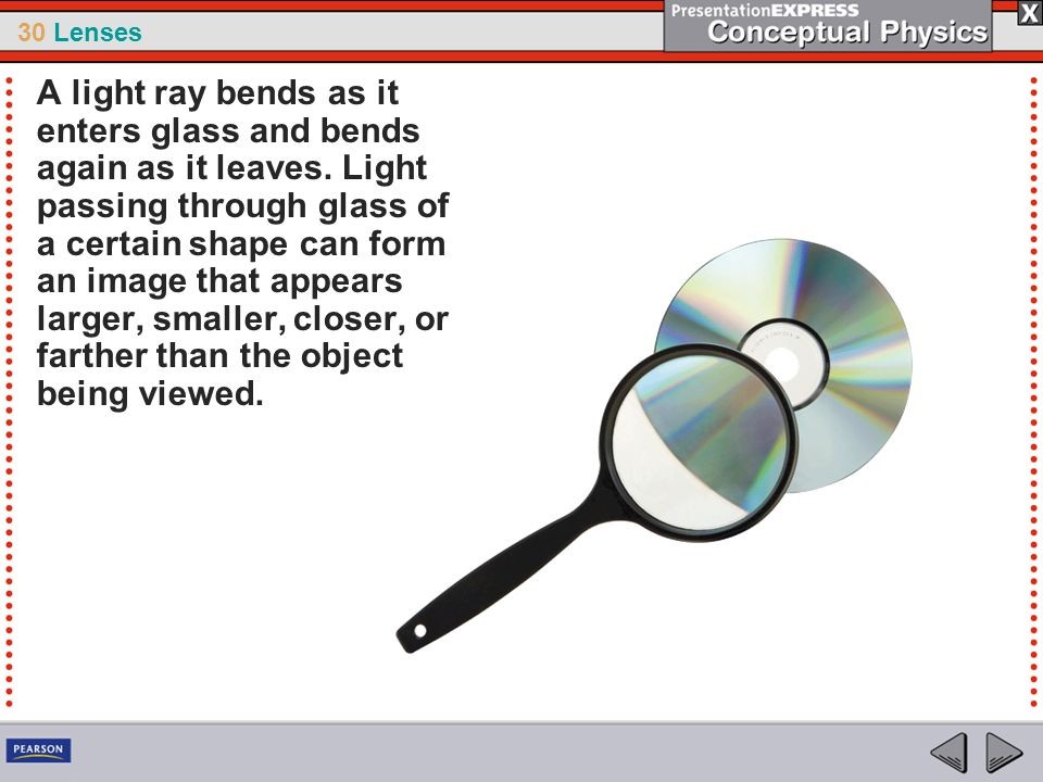 A light ray bends as it enters glass and bends again as it leaves
