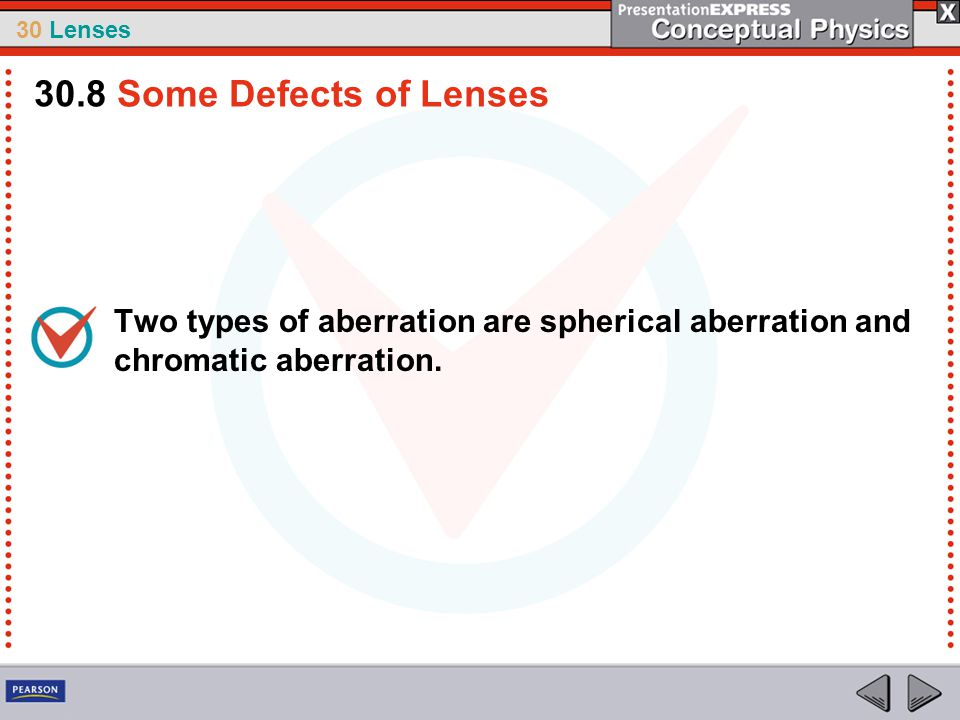 30.8 Some Defects of Lenses Two types of aberration are spherical aberration and chromatic aberration.