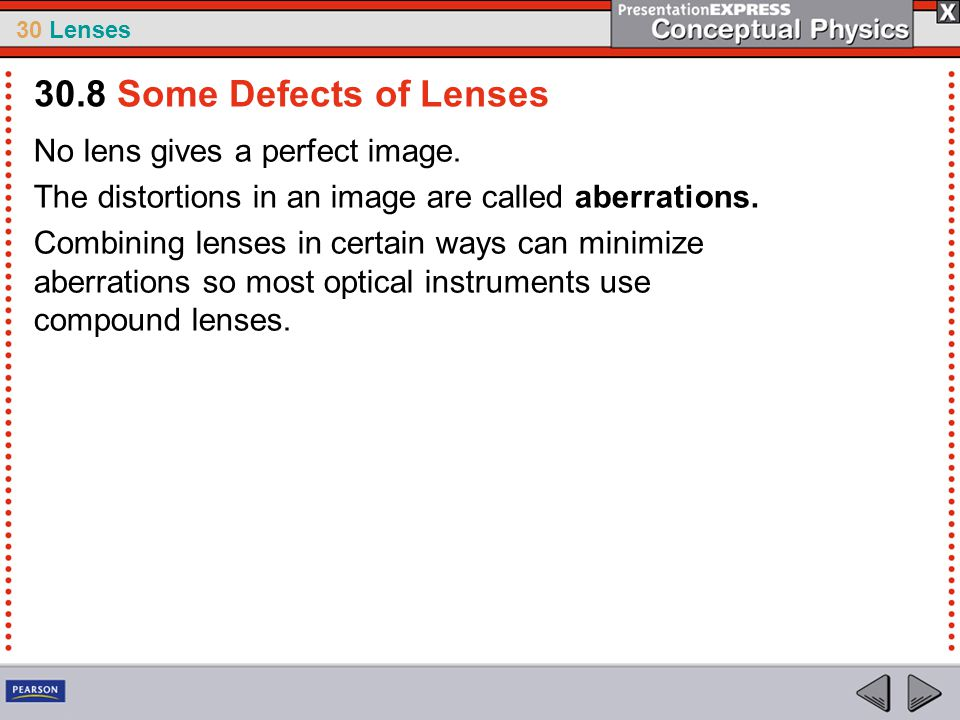 30.8 Some Defects of Lenses No lens gives a perfect image.