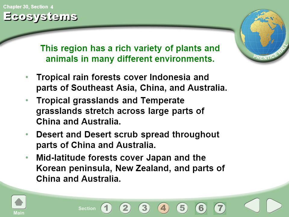 4 Ecosystems. This region has a rich variety of plants and animals in many different environments.