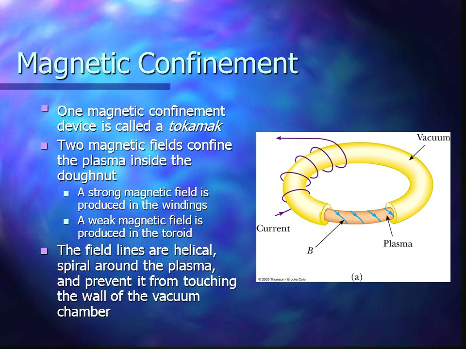 Magnetic Confinement One magnetic confinement device is called a tokamak. Two magnetic fields confine the plasma inside the doughnut.