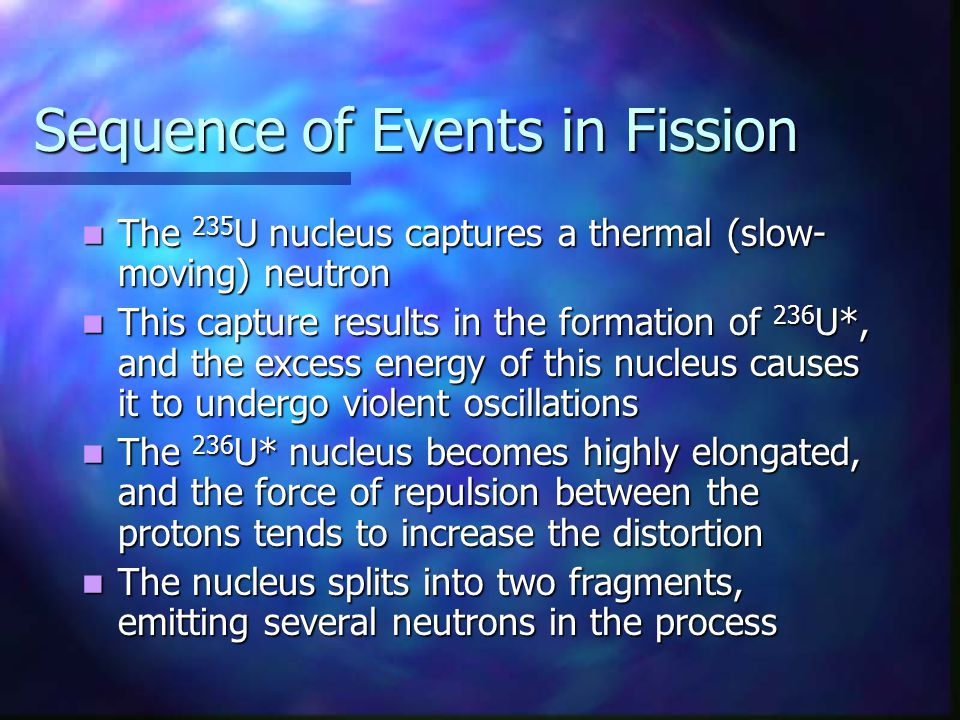 Sequence of Events in Fission