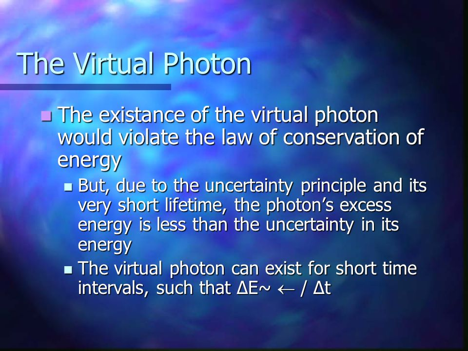 The Virtual Photon The existance of the virtual photon would violate the law of conservation of energy.