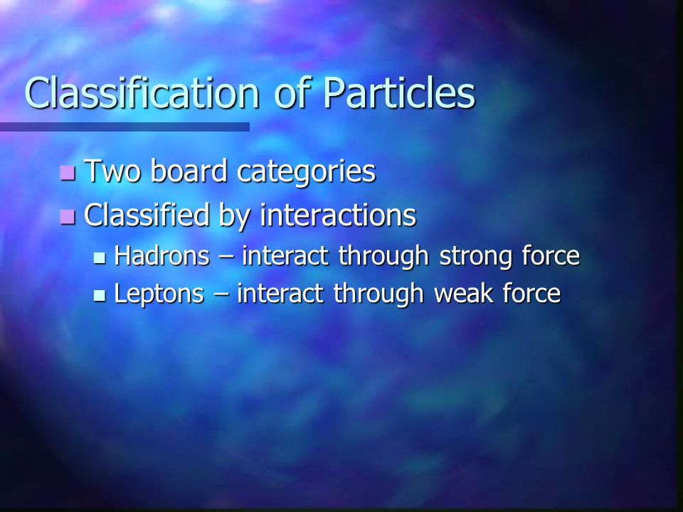 Classification of Particles