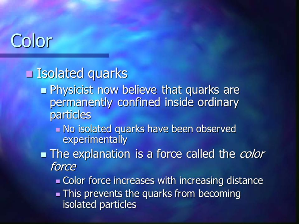 Color Isolated quarks. Physicist now believe that quarks are permanently confined inside ordinary particles.