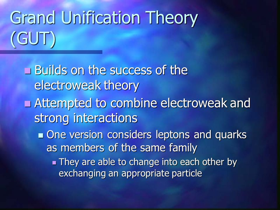 Grand Unification Theory (GUT)