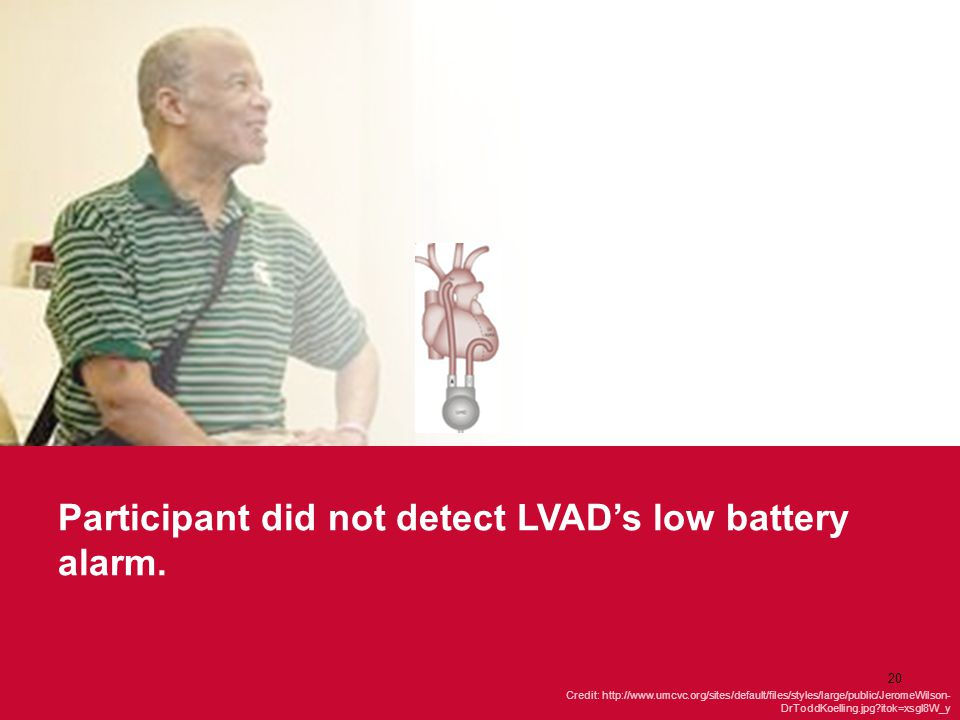 Participant did not detect LVAD's low battery alarm.
