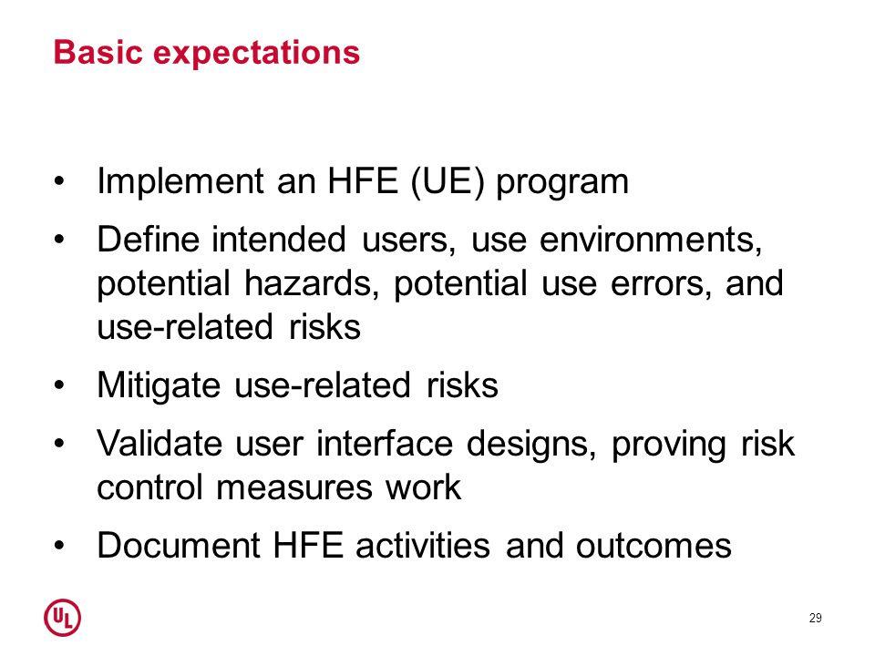 Implement an HFE (UE) program