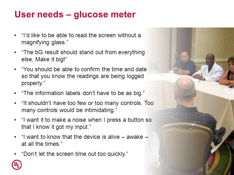 User needs – glucose meter