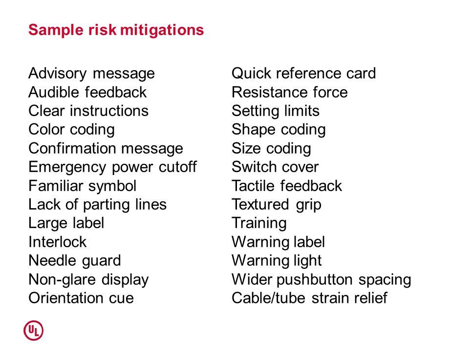 Sample risk mitigations