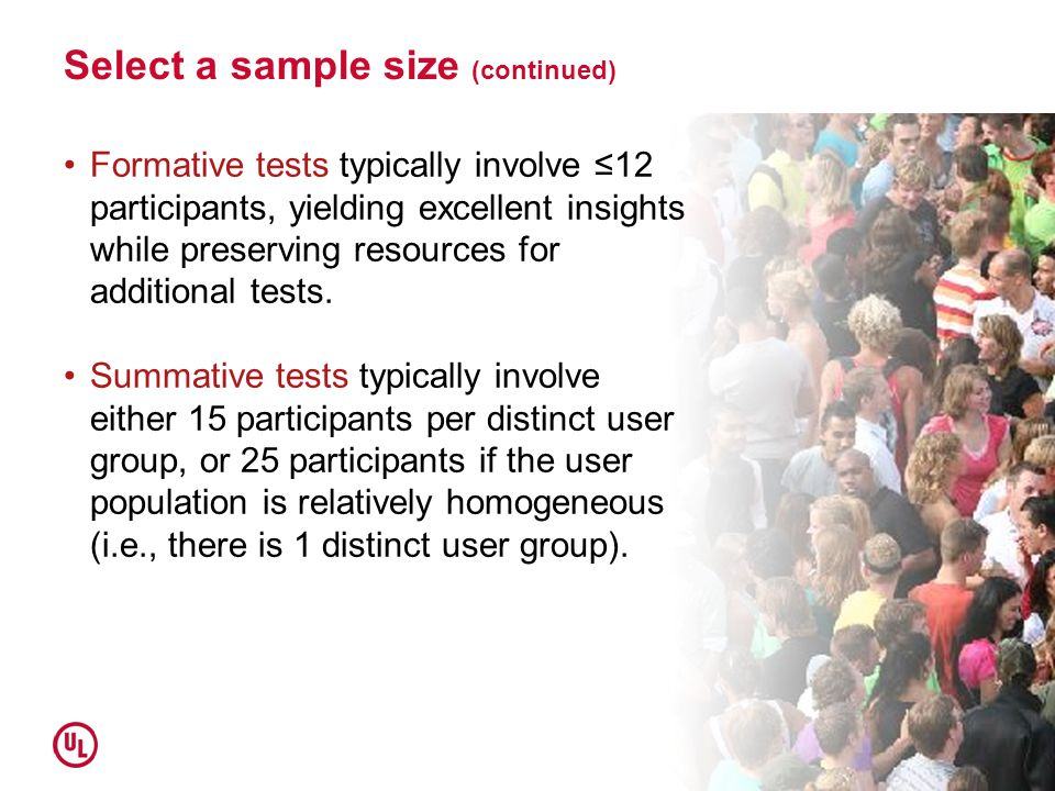 Select a sample size (continued)