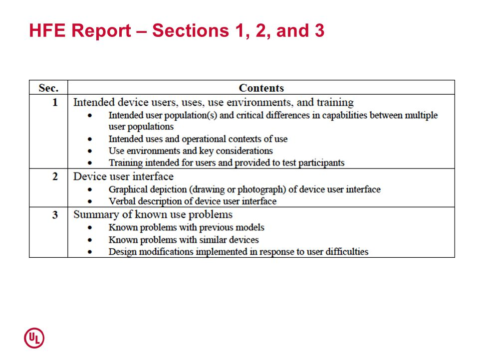 HFE Report – Sections 1, 2, and 3