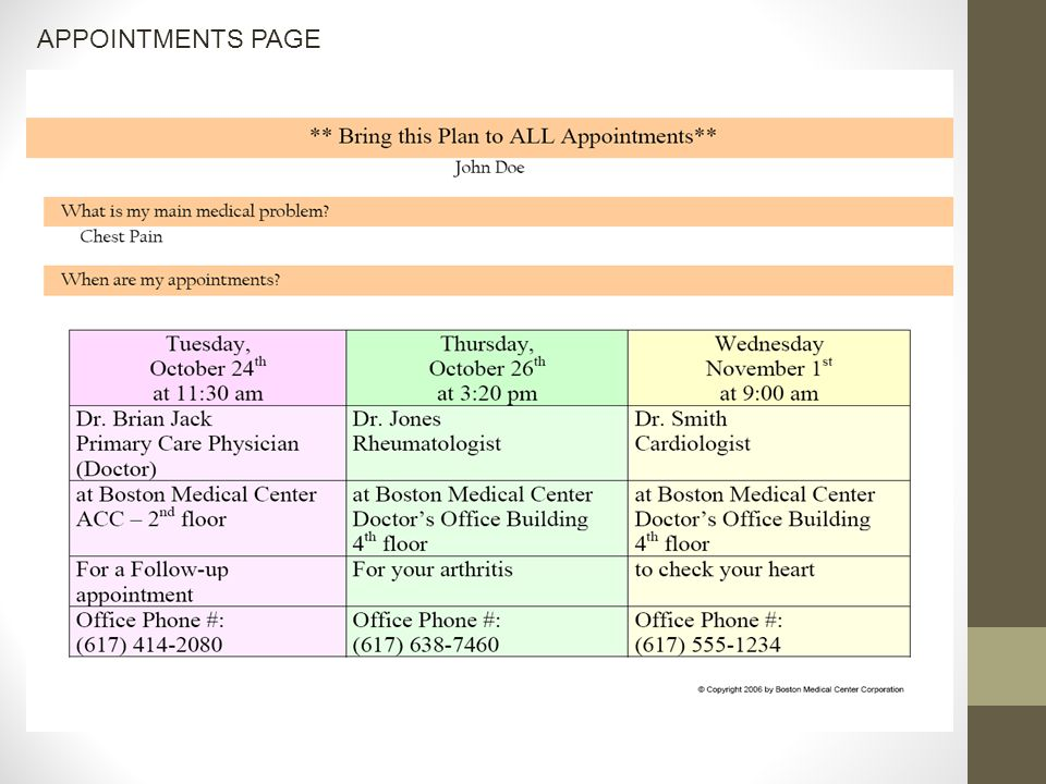 APPOINTMENTS PAGE