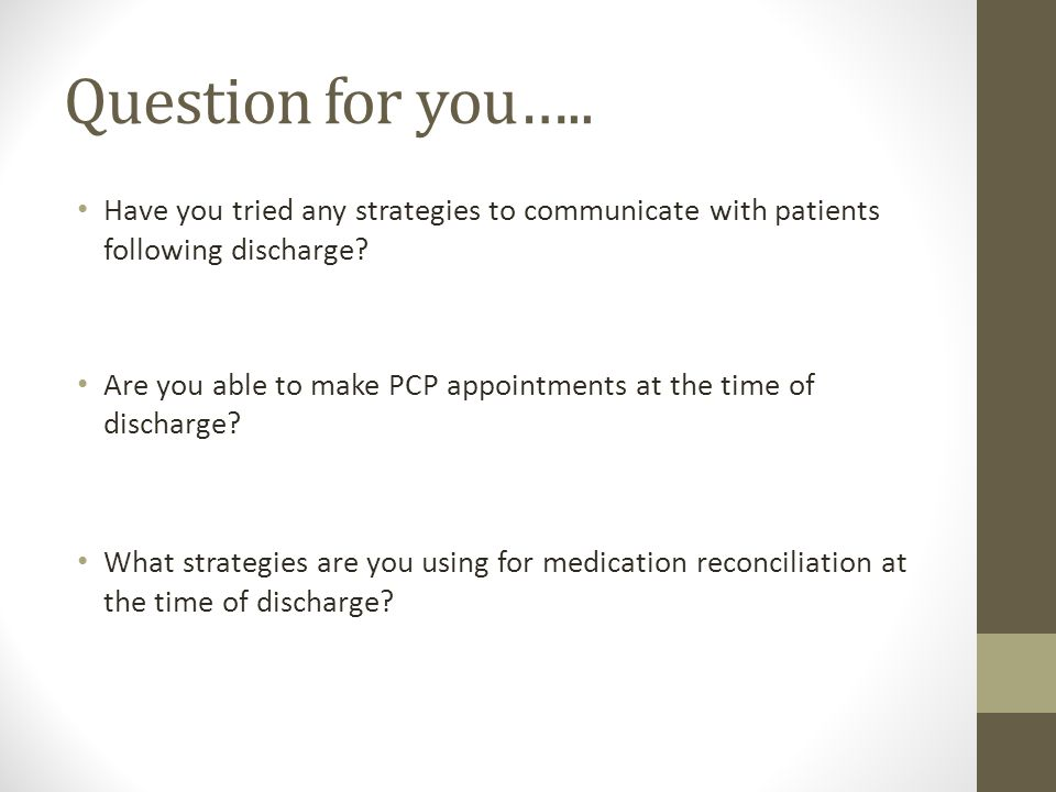 Question for you….. Have you tried any strategies to communicate with patients following discharge
