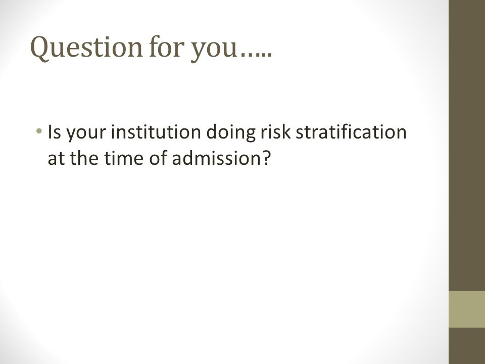 Question for you….. Is your institution doing risk stratification at the time of admission