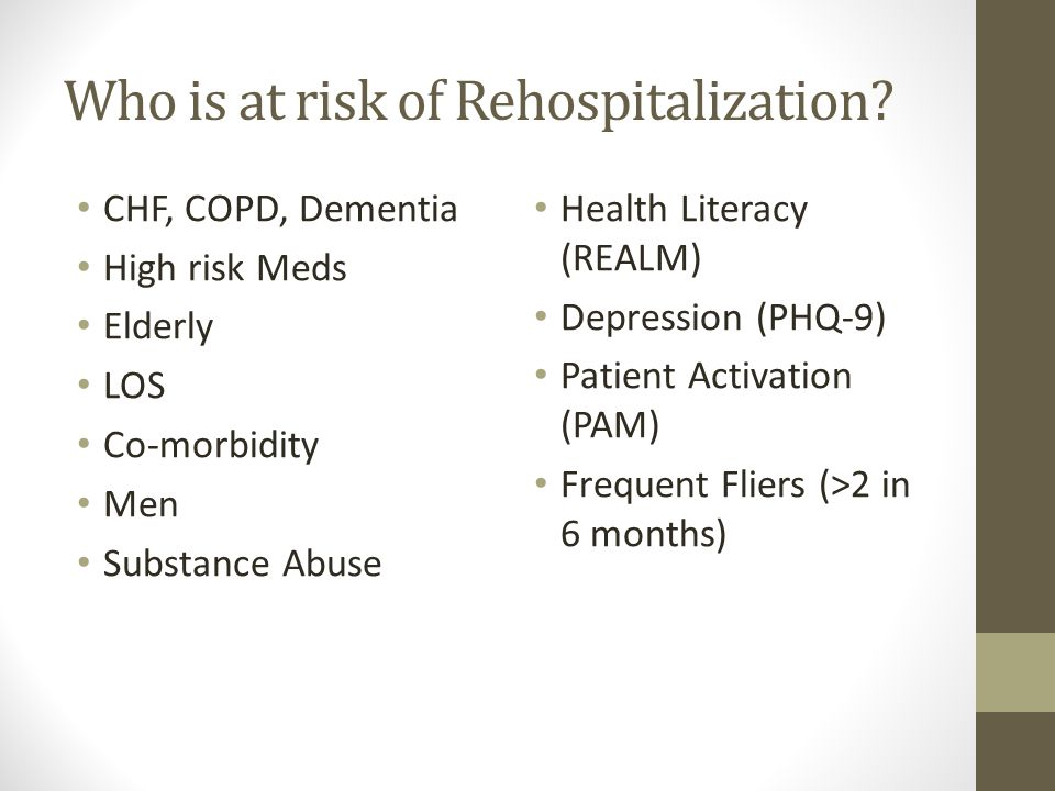 Who is at risk of Rehospitalization