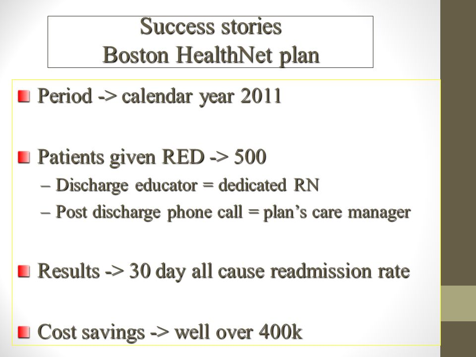 Success stories Boston HealthNet plan
