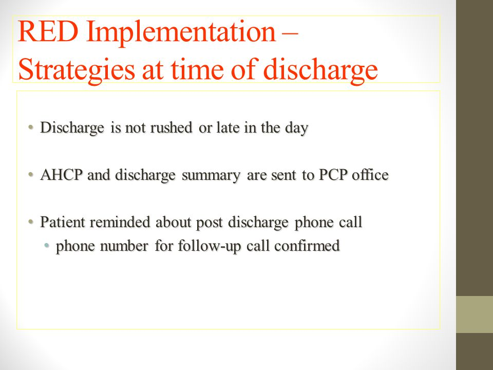 RED Implementation – Strategies at time of discharge