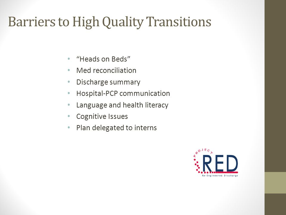 Barriers to High Quality Transitions