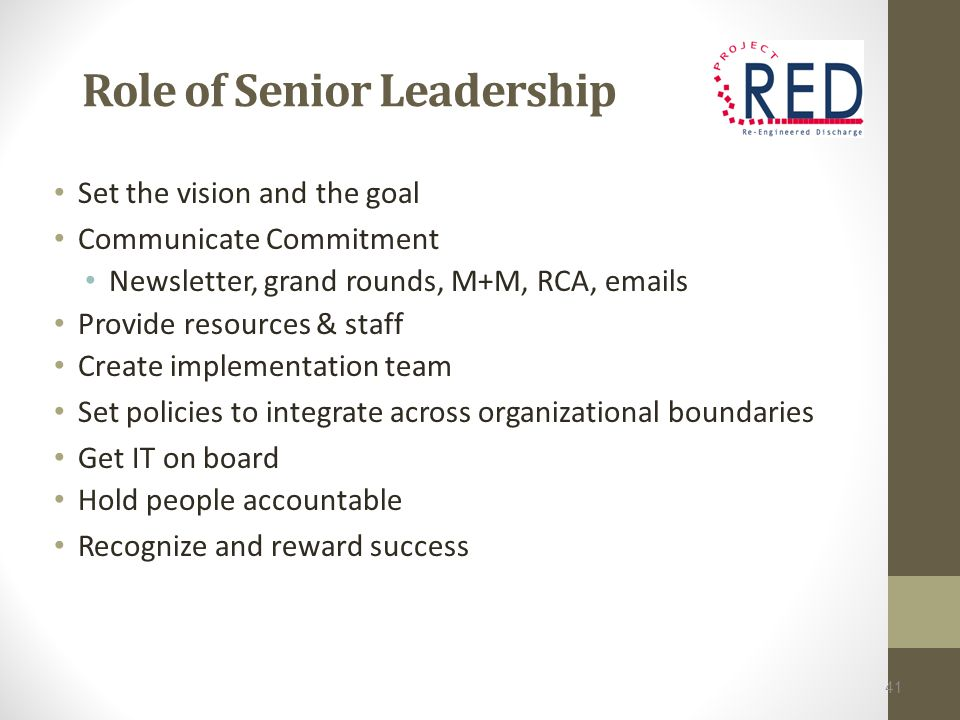 Role of Senior Leadership