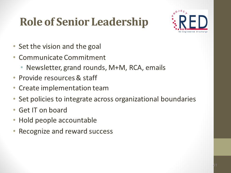 Role of Senior Leadership