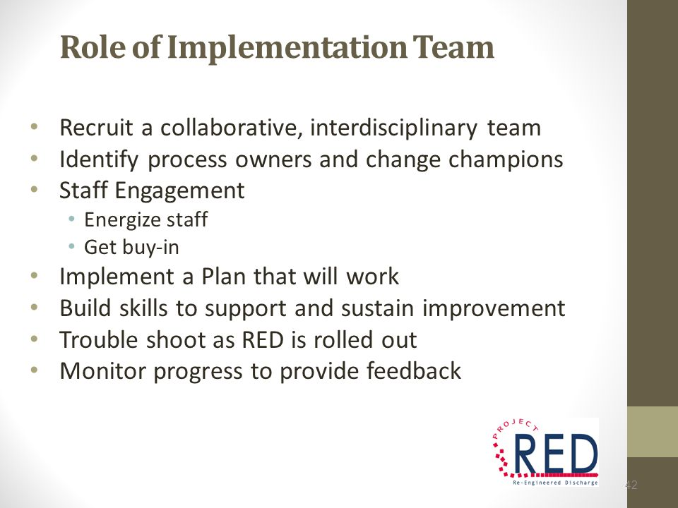 Role of Implementation Team