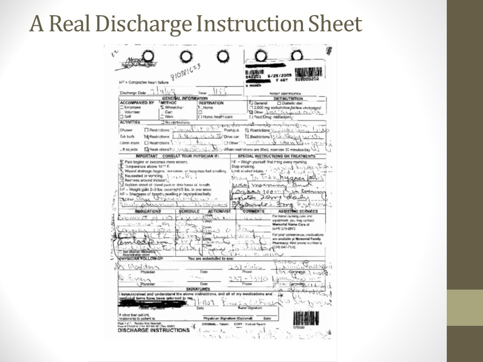 A Real Discharge Instruction Sheet