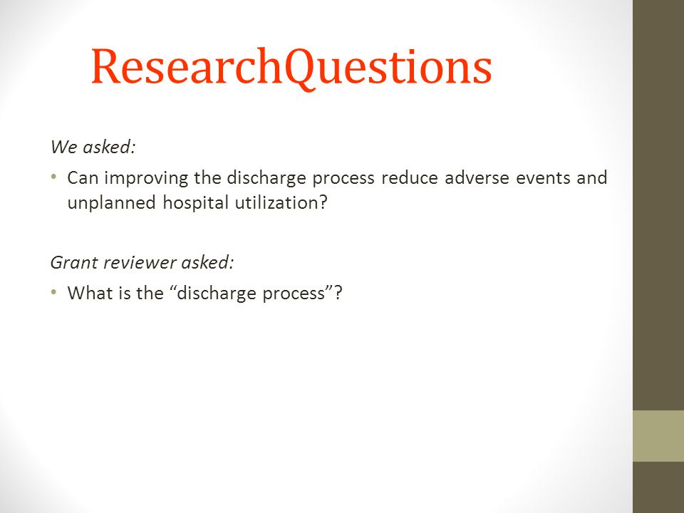 ResearchQuestions We asked: