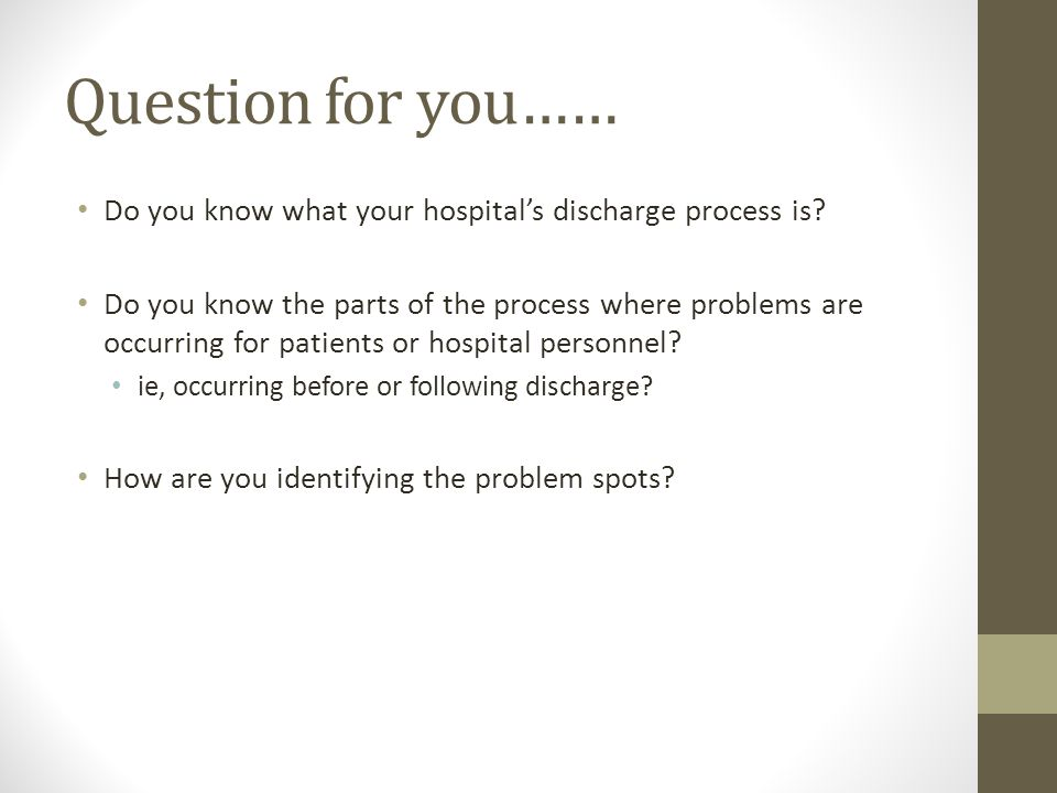 Question for you…… Do you know what your hospital's discharge process is