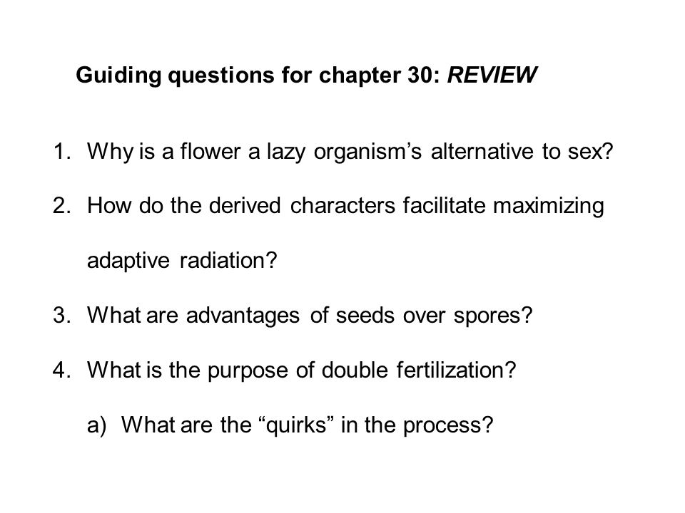 Guiding questions for chapter 30: REVIEW