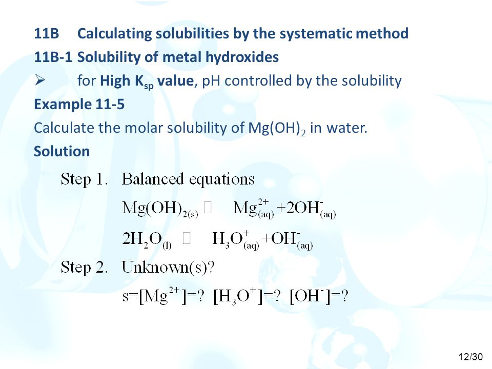 11B Calculating solubilities by the systematic method